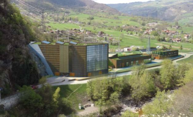 """Bâtiment usine type """"Pelton"""" à la Coche, France"""